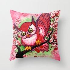 Cherry Owl Throw Pillow