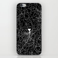 The lines of Love - Black version. iPhone & iPod Skin