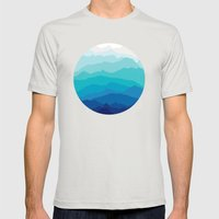 Blue Mist Mountains Mens Fitted Tee Silver SMALL