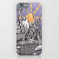 iPhone Cases featuring Zentangle Daylight in the Swamp by Vermont Greetings