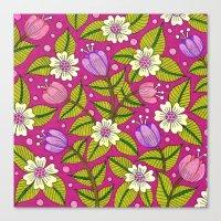 Tulips And Dogwood Flowe… Canvas Print