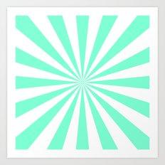 Starburst (Aquamarine/White) Art Print