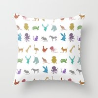 Glitter Animals A Throw Pillow