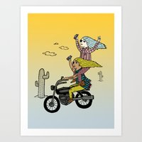 On the freedom experienced by Desert Bike Harpies.   Art Print