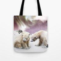 Polar Bears And Penguin Tote Bag