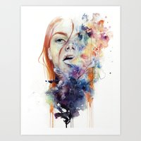 watercolor Art Prints featuring this thing called art is really dangerous by agnes-cecile