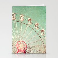 Ferris Wheel on Blue Textured Sky  Stationery Cards
