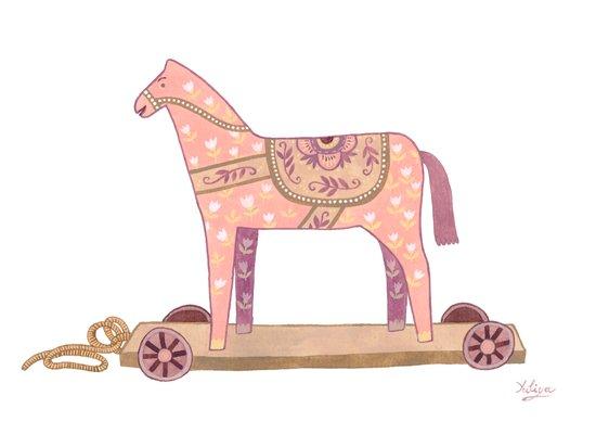 Pink Rocking Horse Art Print