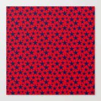 Blue stars on bold red background illustration. Canvas Print