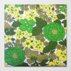 Retro floral sheets greens Canvas Print