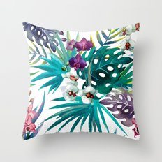 Tropical Watercolor Pattern Throw Pillow