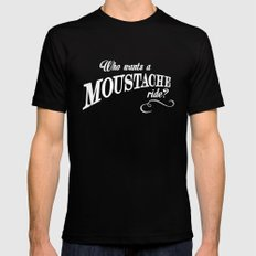 WHO WANTS A MOUSTACHE RIDE? - Super Troopers Mens Fitted Tee Black SMALL