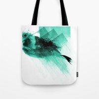 Splatter Bird Blue Tote Bag
