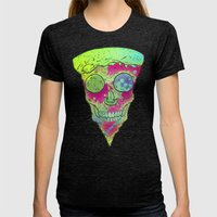 Skull Slice Neon Womens Fitted Tee Tri-Black SMALL