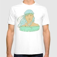 American Indian Nature Goddess in Seafoam Mens Fitted Tee White SMALL