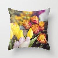 Market Tulips Throw Pillow