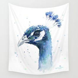 Wall Tapestry - Peacock Watercolor Painting - Olechka