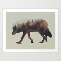 wolf Art Prints featuring Norwegian Woods: The Wolf by Andreas Lie