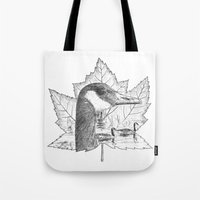 Canada Goose on Maple Leaf Tote Bag