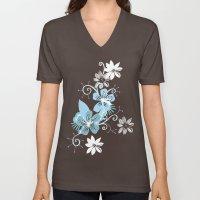 Summer blossom, brown and blue pattern Unisex V-Neck