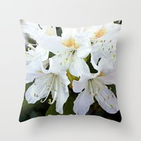 Beautiful white azalea flower photography. Throw Pillow