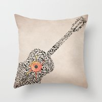 Guitar Notes Throw Pillow