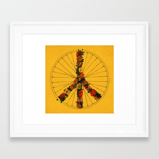 Peace & Bike (Colors) Framed Art Print