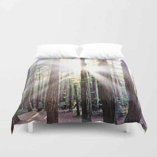 Sunburst Through the Redwoods Duvet Cover