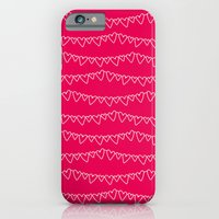 iPhone & iPod Case featuring Red & White Heart Garland by the green gables