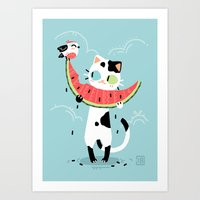 Watermelon Cat Art Print