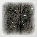 Black frozen winter sparkly night  Canvas Print