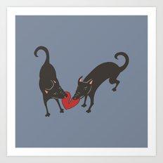 Black Dog Heartbreak Art Print