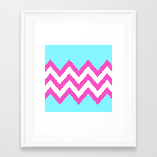 TEAL & PINK CHEVRON COLORBLOCK Framed Art Print