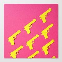 Guns Papercut Canvas Print