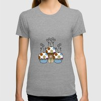 Cute Monster With Blue And Brown Polkadot Cupcakes Womens Fitted Tee Tri-Grey SMALL