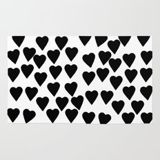 Hearts Black and White Rug