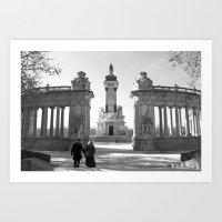 Couple At Madrid Monumen… Art Print