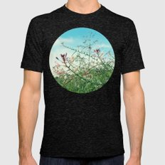 Field Wild Flowers Mens Fitted Tee Tri-Black SMALL