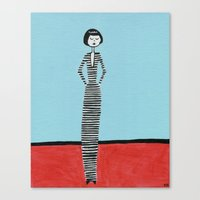 Eloise in stripes Canvas Print