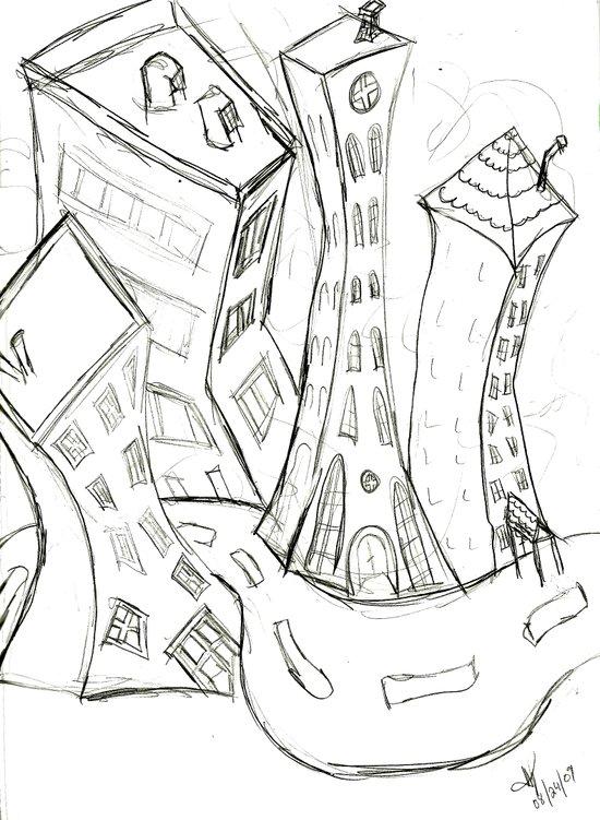 """Sketchy City Streets"" Art Print"