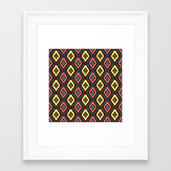 Zig Zag Ikat Framed Art Print