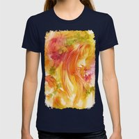 Autumn leaves Womens Fitted Tee Navy SMALL