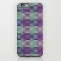 iPhone & iPod Case featuring Pixel Plaid - Dark Seas by Frostbeard Studio