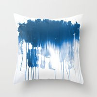 Paint 1 - indigo blue drip abstract painting modern minimal trendy home decor dorm college art Throw Pillow