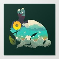 Rabbit Sky - (Forest Green) Canvas Print