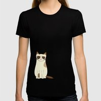 Grumpy Cat Womens Fitted Tee Black SMALL