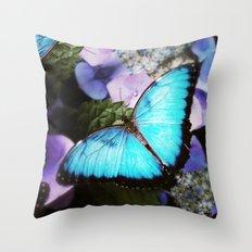 Morpho Bleu Throw Pillow