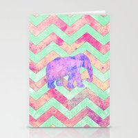 Whimsical Purple Elephant Mint Green Pink Chevron Stationery Cards