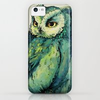 iPhone 5c Cases featuring Green Owl by Teagan White