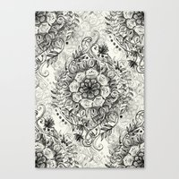 Messy Boho Floral In Cha… Canvas Print